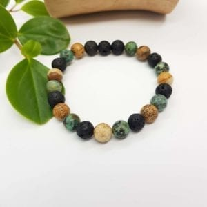 African Turquoise and Picture Jasper Diffuser Bracelet