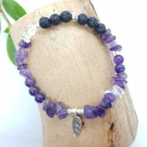 Amethyst Clear Quartz Lava & HTS Leaf Bracelet