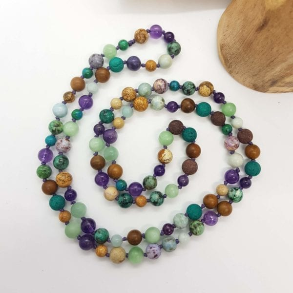 Amethyst Lava wood Amazonite African T Jasper Charoite Necklace