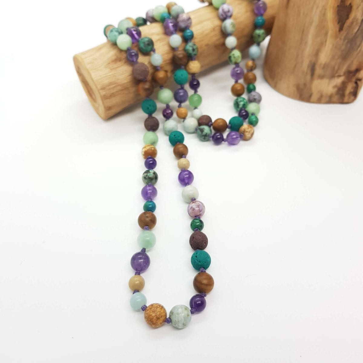Amethyst Lava wood Amazonite African T Jasper Charoite Necklace Slider