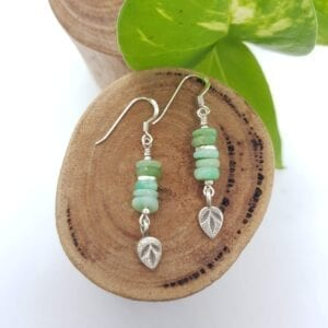 Chrysoprase boho leaf earrings