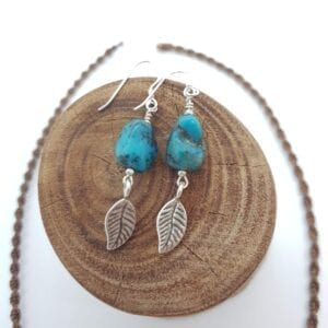 Chunky Turquoise Leaf Earrings