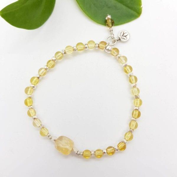 Citrine & HTS Leaf bracelet