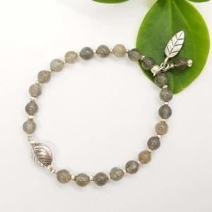 Labradorite & HTS Leaf Bracelet