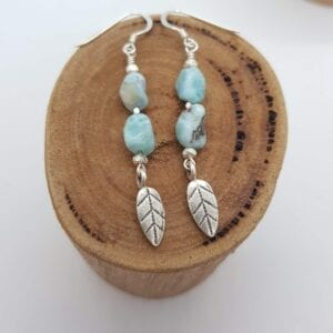 Larimar leaf earrings