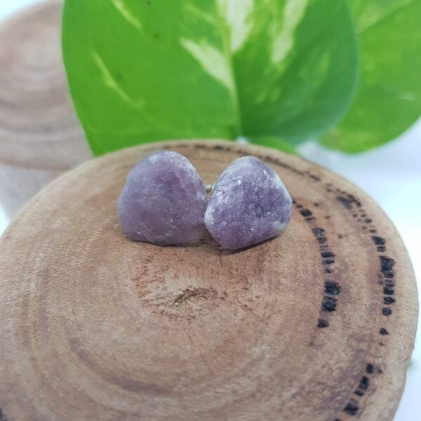Lepidolite crystal stud earrings