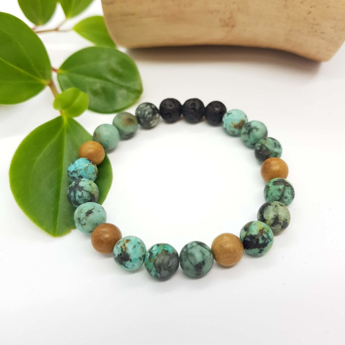 Matte African Turquoise and Wood Diffuser Bracelet