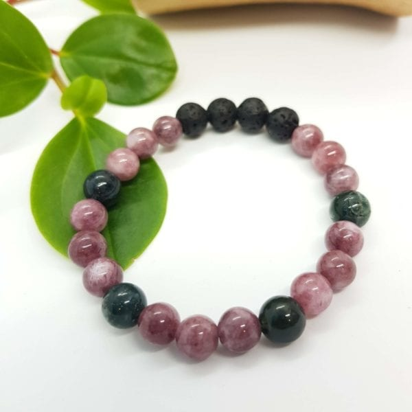 Moss and Purple Agate Diffuser Bracelet