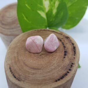 Rhodochrosite crystal stud earrings