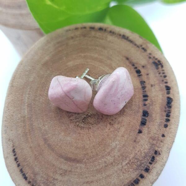 Rhodochrosite crystal stud earrings