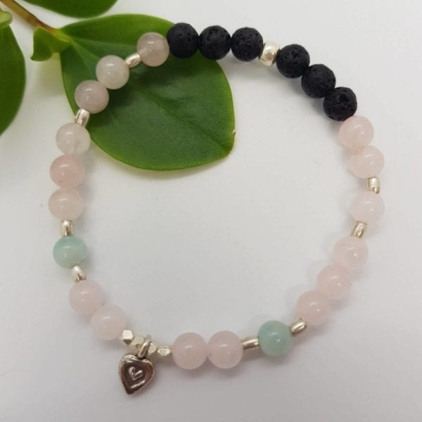 Rose Quartz Amazonite Lava Heart Bracelet