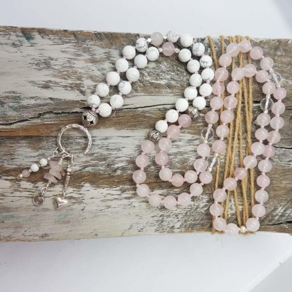Rose Quartz Howlite HTS ring necklace