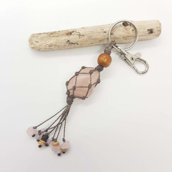 Rose Quartz Keyring Bag Clip