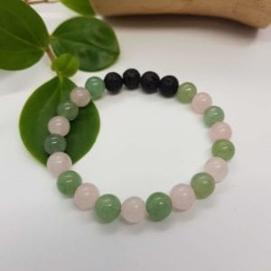 Rose Quartz and Green Aventurine Diffuser Bracelet