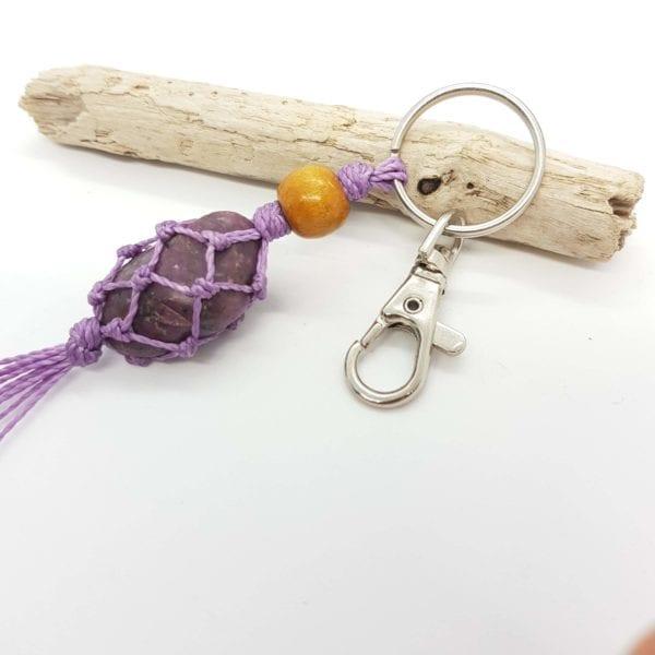 Ruby Crystal Keyring Bag Clip